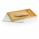 Custom Icon Glass-Top Cutting/Cheese Board w/ Removable Serving Tray