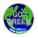 Custom Go Green Pin - World, 1