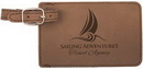 Custom Dark Brown Leatherette Luggage Tag, 4 1/4