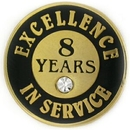 Custom Excellence In Service Pin - 8 Years, 3/4