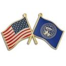 Custom Nebraska & Usa Crossed Flag Pin, 1 1/8