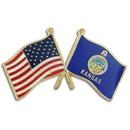Custom Kansas & Usa Flag Pin, 1 1/8