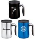 Custom 16 Oz. Double wall Mug w/ Screw on lid, stainless steel interior, silver, blue and black, 5 1/4