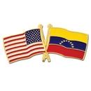 Custom Usa & Venezuela Flag Pin, 1 1/8