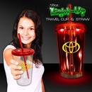 Custom Red Light Up Travel Cup with Red Lid and Straw, 2.5