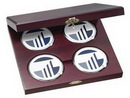 Custom Cherry Wood Presentation Cases with 4 Round Solid Chrome Coasters