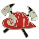 Custom Red Fireman Hat With Crossed Axes Pin, 1 1/8