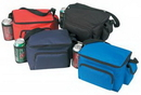 Custom 600D Polyester 6 Pack Poly Cooler with Bottle & Cell Phone Holder
