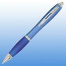 Custom Plastic Curve Pen - Blue with Silver Trim, 5 1/2
