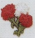 Custom Floral Embroidered Applique - Red White Carnation Flowers