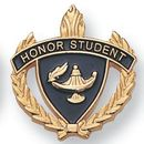 Blank Fully Modeled Epoxy Enameled Scholastic Award Pins (Honor Student), 7/8