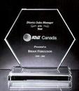 Custom Hilton Hexagon Award - Jade Glass (6 3/8