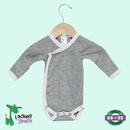 Custom Long Sleeve Newborn Kimono Romper w/Mittens - Heather Gray/White