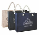 Custom Jute/Cotton Blended Fabric Tote with Magnetic Closure, 19