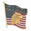Blank Military Award Lapel Pins (Eagle & American Flag/Land of the Free/Home of the Brave), 7/8