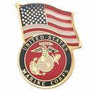 Blank Military Award Pins (U.S. Marine Corps & American Flag), 1 1/8