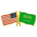 Custom Usa & Saudi Arabia Flag Pin, 1 1/8