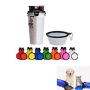 Custom 2 in 1 Portable Pet Food Water Bottle With Folding Bowls