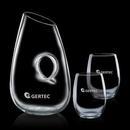 Custom 40 Oz. Hallandale Carafe W/ 2 Stanford Stemless Wine Glasses