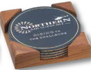 Custom Round Leather Cork Back Coaster Set of 4 w/ Cherry or Walnut Wood Stand