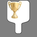 Custom Hand Held Fan W/ Full Color Gold Trophy Cup (Large), 7 1/2