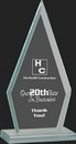 Custom Pristine Jade Glass Collection Triangle Award M, 7 1/2