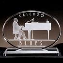 Custom Horizontal Oval Ovation Award - Starfire Glass (7 1/8