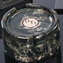 Custom Set Of 6 Genuine Green Marble Coasters W/ Holder (4