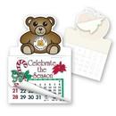 Teddy Bear Shape Custom Printed Calendar Pad Sticker W/ Tear Away Calendar, 4