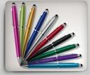 Custom Gerone Plastic Pen & Stylus w/ Silver Trim