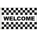 Custom Welcome Black & White Checkered 3' x 5' Message Flag with Heading and Grommets