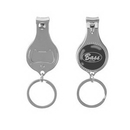 Custom Round Nail Clipper With Bottle Opener Key Chain, 3.54