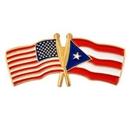 Custom Usa & Puerto Rico Flag Pin, 1 1/8