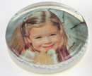 Custom Personage-of-the-Year Scalloped Edge Glass Photo Paperweight - Molded Glass