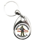Custom Metal Key Tag, Oval Shape with Round Printed Image on 2 Sides, 1.25