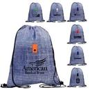 Custom Blue Denim Drawstring Backpack, 12.75