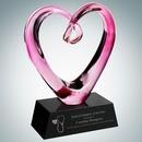 Custom Art Glass Compassionate Heart Award with Black Base, 9 1/2