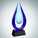 Custom Art Glass Aquatic Award with Black Base (L), 13 1/2