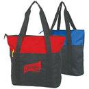 Custom 2 Tone Zipper Tote Bag w/ 6