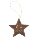 Custom Rustic & Gold Laserable Leatherette Star Ornament with Gold String, 4