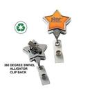 DeVara Custom Chrome Star Retractable Badge Reel: (Label Only), 3 1/2