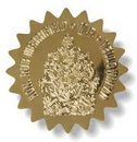 Custom Debossed Gold Polyester Decal, Non-Printed, 7.1 to 12 Sq/in, .006
