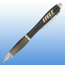 Custom Plastic Curve Pen - Black with Silver Trim, 5 1/2