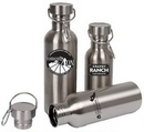 Custom 25 Oz. Stainless Steel Wide Mouth Water Bottle w/ metal lid & Carabiner, 10