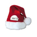Velvet Red Santa Hat w/ Plush White Trim w/ Custom Shaped Heat Transfer