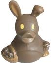 Custom Rubber Chocolate Bunny Duck, 3 3/8