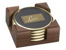 Custom 4 Round Solid Brass Coasters with Solid Walnut Wood Holder
