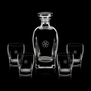Custom 25 Oz. Collingwood Crystalline Decanter W/ 4 Double Old Fashioned Glasses