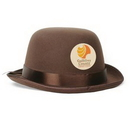Formed Brown Felt Bowler Hats w/ a 1