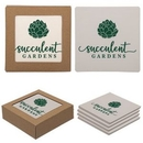 Custom Square Absorbent Stone Coaster 4 Pack, 4 1/4